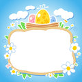 Easter design with frame for photo. Stock Photo