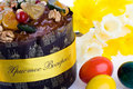 Easter dessert paskha close-up, eggs, daffodils on Royalty Free Stock Image