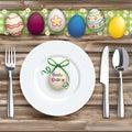 Easter Dinner Ostern Worn Wood Green Cloth Knife Fork Spoon Plat