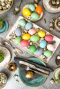 Easter dinner table decoration eggs vibrant Royalty Free Stock Photo
