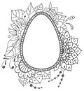 Easter doodle egg with floral ornament Royalty Free Stock Photo