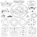 Easter doodle frame bruches wreath decor element doodles elements set hand sketched and pattern lswirling labels design templates Royalty Free Stock Photos