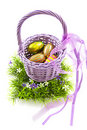 Easter egg basket Royalty Free Stock Images