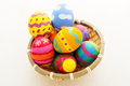Easter egg in basket close up Stock Photos