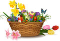 Easter egg in basket Royalty Free Stock Photo