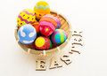 Easter egg in basket and wooden text Royalty Free Stock Photography