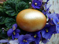 Easter egg beautiful painted on a colorful background Royalty Free Stock Photo
