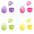 Easter Egg Boxes Fillable Striped Open Closed
