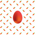 Easter egg on carrots background on white Royalty Free Stock Photo