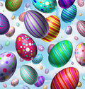 Easter egg celebration background with a group of three dimensional colorful vibrant eggs flying in the air falling from the sky Stock Photography