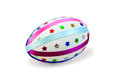 Easter egg with colored ribbons and stars one decorated multicolored braid sparkles in the form of a light shade on white Royalty Free Stock Photography