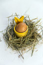 Easter egg in egg cup yellow with rabbit ears hay and white background Royalty Free Stock Photography