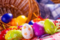 Easter egg eggs arranged with a tablecloth and basket weaving Royalty Free Stock Image