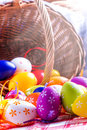 Easter egg eggs arranged with a tablecloth and basket weaving Royalty Free Stock Photography