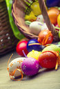 Easter egg eggs arranged with a tablecloth and basket weaving Royalty Free Stock Photo