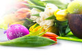 Easter egg eggs arranged with a tablecloth and basket weaving Stock Image