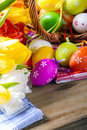 Easter egg eggs arranged with a tablecloth and basket weaving Stock Photo