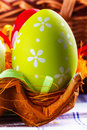 Easter egg eggs arranged with a tablecloth and paper packing for eggs Royalty Free Stock Image