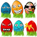 Easter egg emotions collection of different serial Royalty Free Stock Image