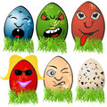 Easter egg emotions collection of different serial Royalty Free Stock Photography