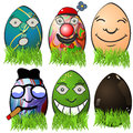 Easter egg emotions collection of different serial Royalty Free Stock Images