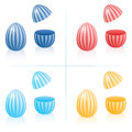 Easter Egg Fillable Boxes Stripes Plastic Items