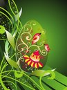 Easter egg with floral decoration and birds Royalty Free Stock Images