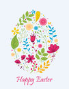 Easter egg with flowers concept illustration of Royalty Free Stock Photo