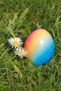 Easter egg with flowers in a meadow Royalty Free Stock Photo