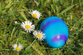 Easter egg with flowers in a meadow Stock Images