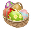 Easter egg hamper an illustration of an basket with chocolate decorated eggs Stock Photos