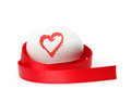 Easter egg with heart paint Stock Photos