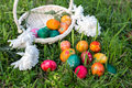 Easter egg hunt a basket and eggs on grass Stock Photos
