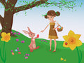 Easter egg hunt girl and bunny playing a lovely helping each other to find eggs in a meadow with flowering daffodils violets Royalty Free Stock Images