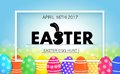 Easter egg hunt. Holiday banner with eggs.