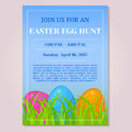 Easter Egg Hunt invitation, flyer, poster or placard template with different eggs in grass in cartoon style. Vector