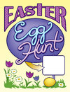 Easter egg hunt sign page layout fun featuring the word with a t made into a cross great for church bulletins pages fliers or Royalty Free Stock Photo