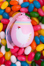 Easter egg on jellybeans Royalty Free Stock Photography