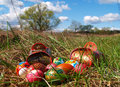 Easter egg on meadow traditional colored holiday Stock Photo