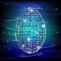 Easter egg modern age wireframe egg form rotating circuit board over electronic background Royalty Free Stock Image