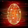 Easter egg modern age wireframe egg form rotating circuit board over electronic background Stock Photos
