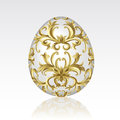Easter egg ornate gold ornament white background Royalty Free Stock Photography