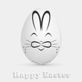 Easter egg with painted rabbit white illustration Royalty Free Stock Photography