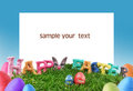 Easter egg and paper frame Royalty Free Stock Photography