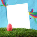 Easter egg and paper frame Stock Photo