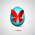 Easter egg with papercut butterfly illustration Royalty Free Stock Photography