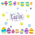 Easter eggs gift postcard greetings with easter