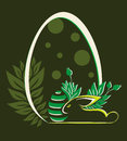 Easter egg with rabbit and leaves
