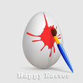 Easter egg with red blotch realistic and paintbrush illustration Royalty Free Stock Photography