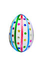 Easter egg with ribbons and sequins one decorated multicolored braid sparkles in the form of stars isolated on white background Royalty Free Stock Images